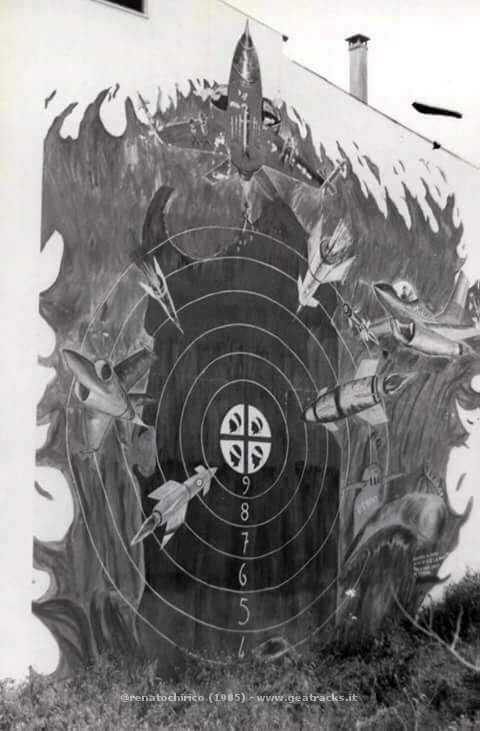 Terralba: murale di protesta antimilitarista e antiamericana