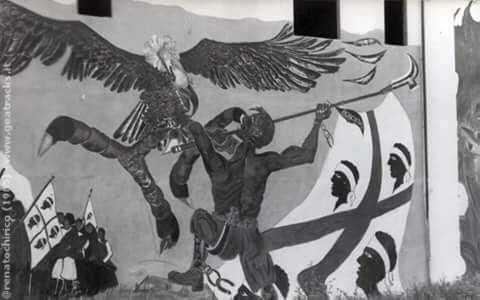 Terralba:Murale di protesta anticolonialista e antiamericana
