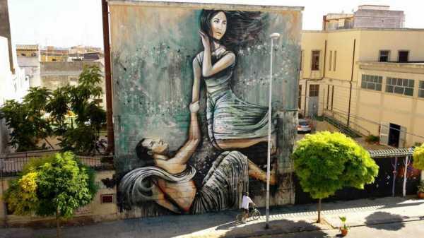 Siracusa: un murale dedicato al mito di Aretusa ed Alfeo